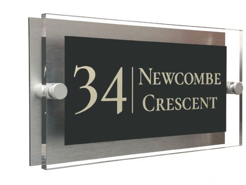 Rectangle Shape - Clear Acrylic House Sign - Anthracite Colour with Double Cream text in Font  2